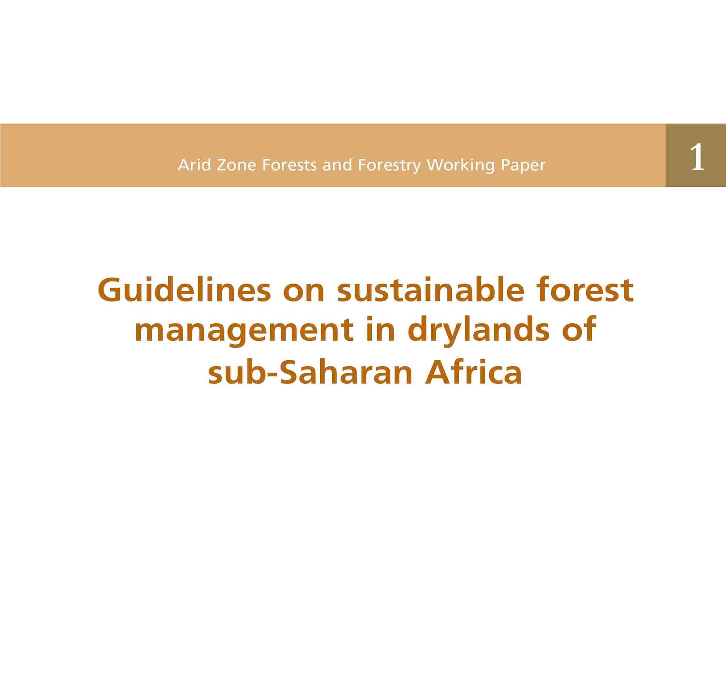 Guidelines on sustainable forest management FAO Publication